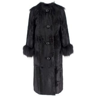 Lanvin Black Lambs Fur Long Coat With Fox Fur Trim