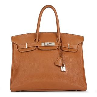 28f44f89a490 Hermes Gold Clemence Leather Birkin 35cm