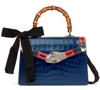 Gucci Blue Alligator & Snakeskin Trim Small Lilith Top Handle Bag