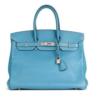 Hermes Blue Jean Fjord Leather Birkin 35cm