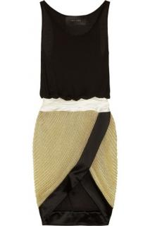 Jay Ahr Satin-Trimmed Jersey And Knitted Dress
