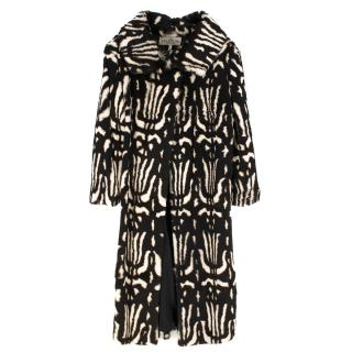 Valentino Boutique Abstract Print Rabbit Fur Long Coat