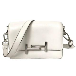 Tod's Mini Double T White Leather Cross Body Bag with Detachable Strap
