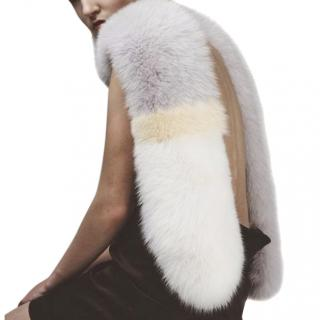 5th Story Fox Fur Stole Scarf in Grey White & Yellow