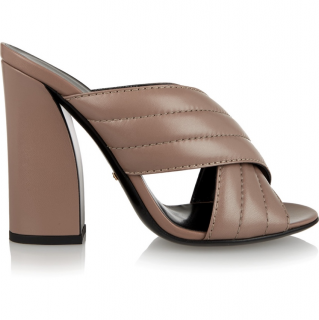Gucci Quilted Taupe Leather Mules