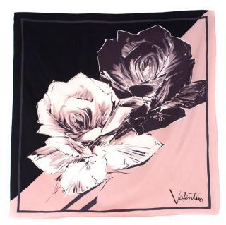 Valentino Rose-Print Silk Scarf