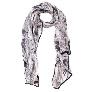 Roberto Cavalli large floral-print silk-satin scarf