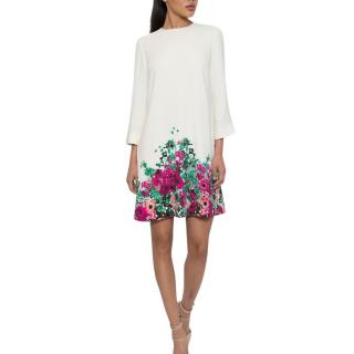 Elie Saab floral-print white cady shift dress