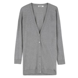 Jil Sander grey wool lightweight cardigan