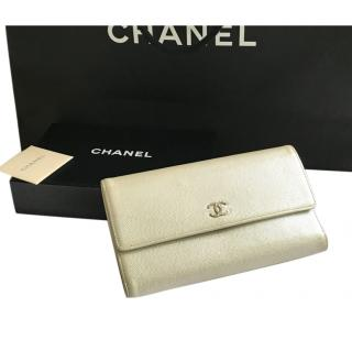 Chanel champagne caviar leather wallet