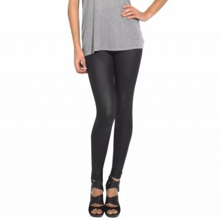 Yves Saint Laurent black textured wet-look leggings