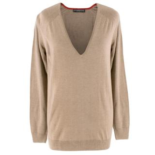 Balenciaga Knits Beige V-Neck Silk-Cashmere Blend Knit Sweater