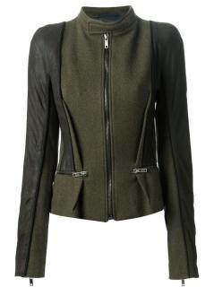 Haider Ackermann leather paneled jacket
