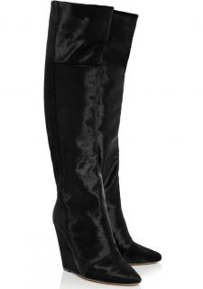 Isabel Marant 'Shelia' calf hair and suede knee boots