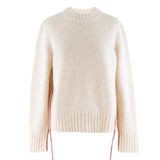 The Row Ivory Cashmere Knit With Red Trim Sweater