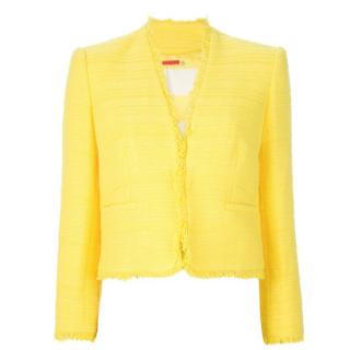 Alice + Olivia Yellow Cotton-Blend Tweed Jacket