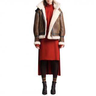 Chloe detachable-hood brown shearling jacket - New Season