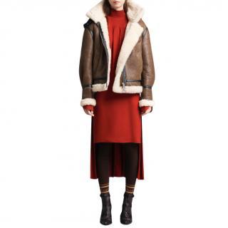 Chloe detachable-hood brown shearling jacket - New Season