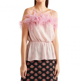 Prada Feather Trimmed Silk Camisole.