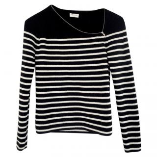 Saint Laurent Zip Slash Neck Breton Stripe Sweater