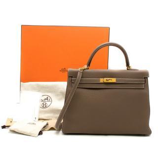 Hermes Kelly 35cm Etoupe Togo leather bag