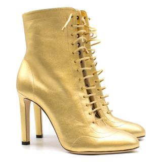 Jimmy Choo Gold Daize Metallic Leather Ankle Boots