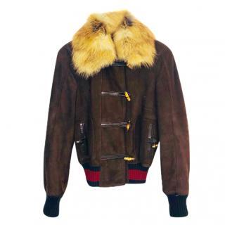 Gucci Suede & Fur Bomber Jacket