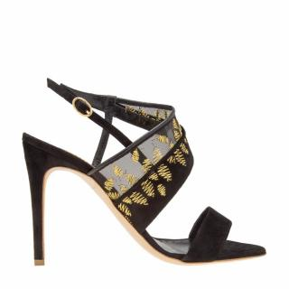 Rupert Sanderson Glamis Black Suede Stiletto Heel with Gold Embroidery