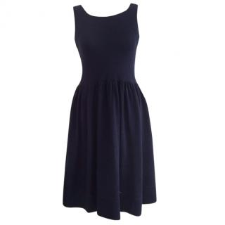 J&M Davidson Navy Sleeveless Knitted Dress with Cross-Over Back