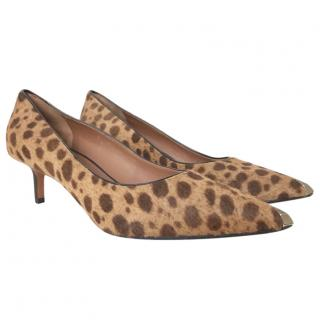 Givenchy Calf-Hair Leopard Print Kitten Heels with Silver Toe
