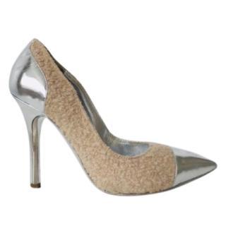 Philosophy Di Alberta Ferretti Sheep Skin & Silver Stiletto Heels
