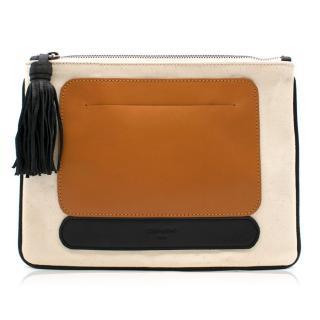 Zeus + Dione Leather   Canvas Clutch Bag a80dd4b010195