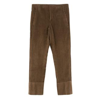 Brunello Cucinelli Cropped Brown Corduroy Cropped Pants