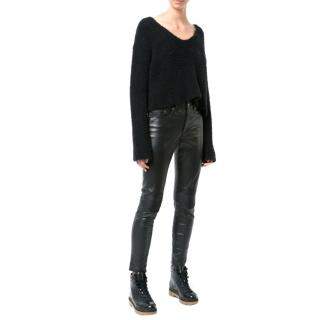 Amiri black ribbed-knee leather trousers