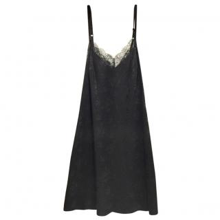 John Galliano Silk Jacquard & Leavers Lace Birds Chemise