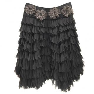 Eric Way Couture Silk Feathers Skirt