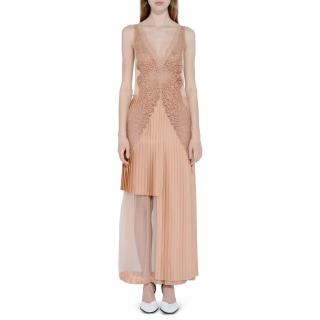 Stella McCartney Marcelle asymmetric pleated lace & satin midi dress