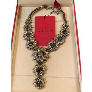 Valentino crystal floral & satin bib necklace