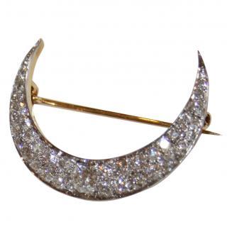Cropp & Farr Antique Victorian Diamond 18ct Gold Crescent Moon Brooch