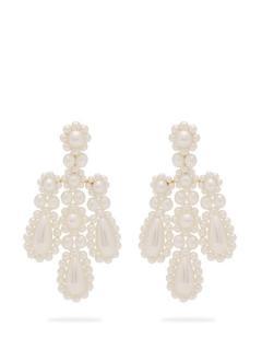 Simone Rocha Faux Pearl  Pearl Chandalier Earrings