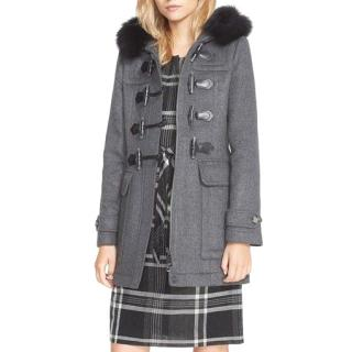 Burberry Grey Coat with removable fur