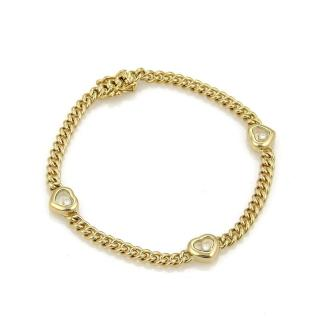 Chopard Happy Diamonds 18k Yellow Gold 3 Hearts Charm Chain Bracelet