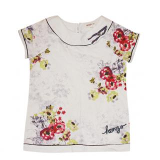 Kenzo Girl's Floral White Top
