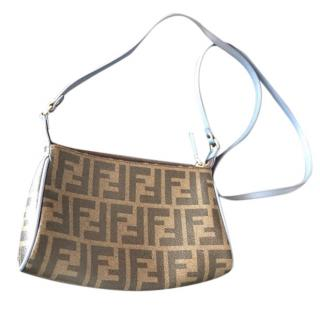 Fendi Tobacco Leather Trimmed Zucca Spalmati Crossbody Bag