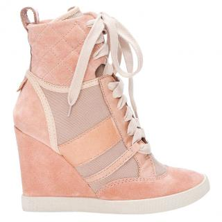 Chloe Taupe & Pink Wedge Sneakers
