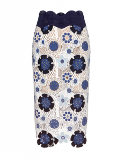 SEA New York Blue & White 'Figgy' Floral Lace Broderie Pencil Skirt