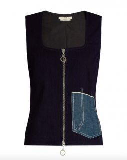 Edun Patch Pocket Denim Sleeveless Top