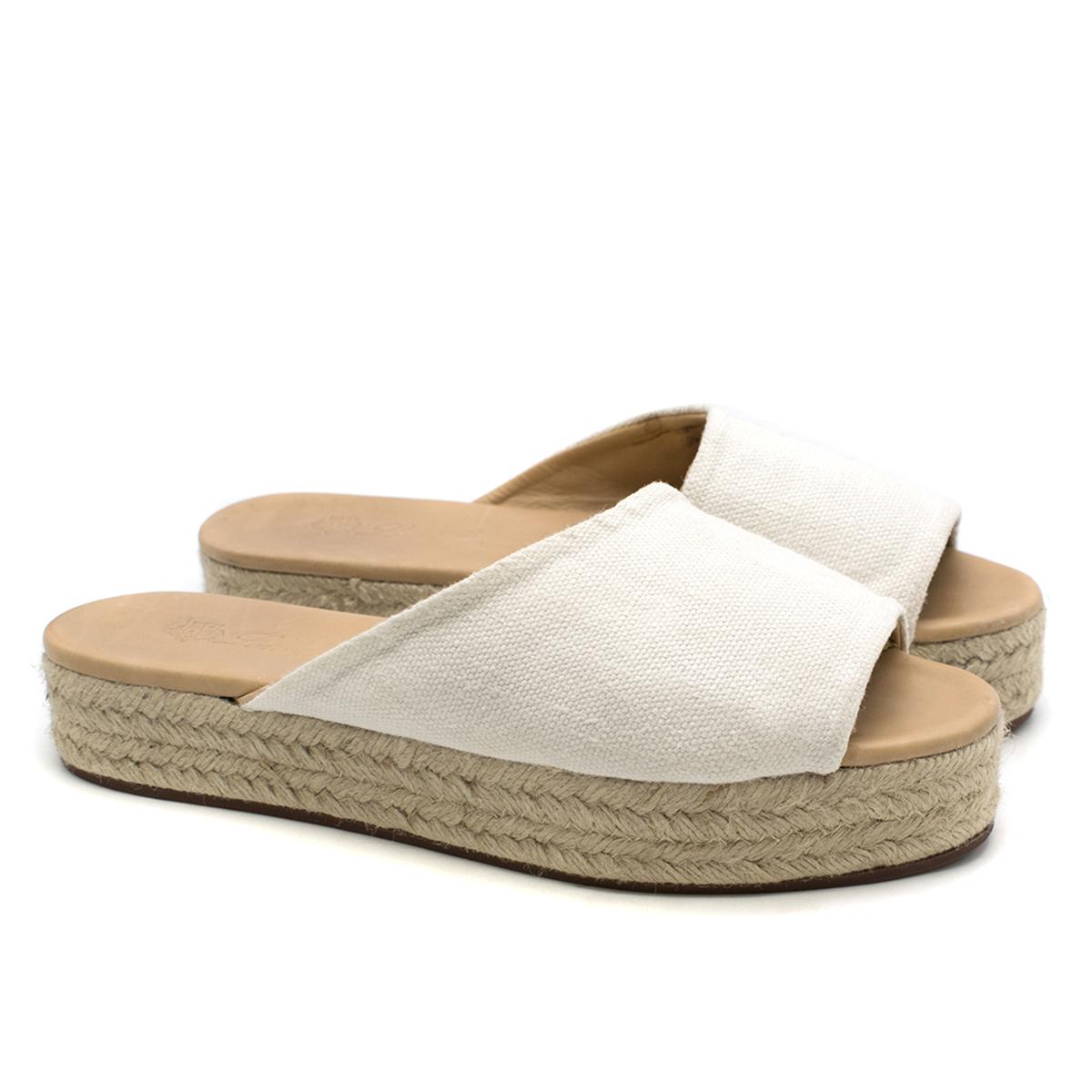 Loro Piana canvas platform sandals