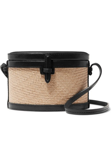 Hunting Season Trunk Mini Raffia And Leather Shoulder Bag