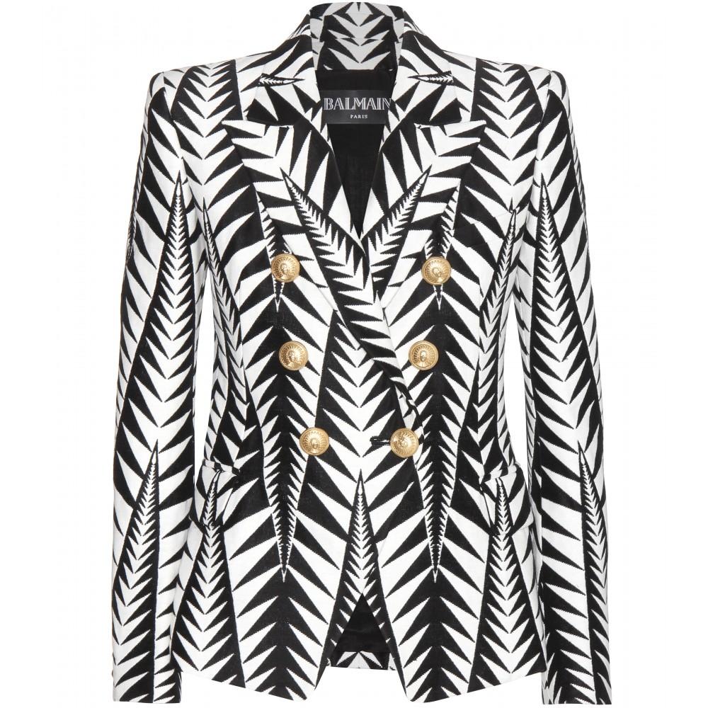 9021ee50cf9 Balmain Leaf Print Double Breasted Blazer | HEWI London